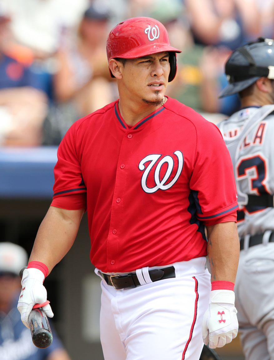 Wilson Ramos of the Washington Nationals during their Grapefruit League game against the Detroit Tigers during Spring Training at Space Coast Stadium in Viera, Florida on March 20, 2014.    Photo by Gregg Newton