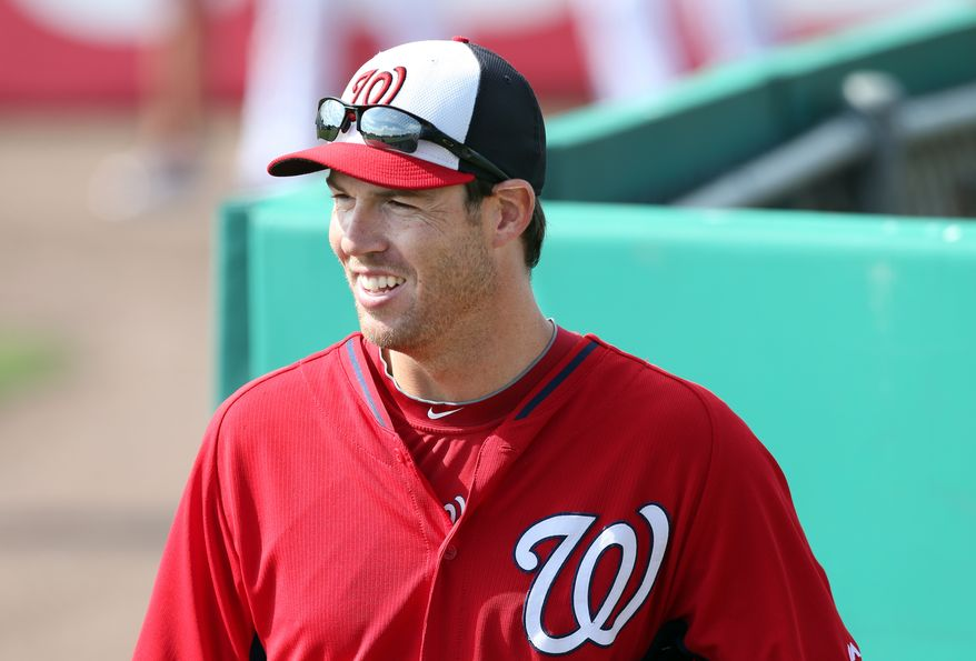 Doug Fister of the Washington Nationals looks on during their Grapefruit League game against the Detroit Tigers during Spring Training at Space Coast Stadium in Viera, Florida on March 20, 2014.    Photo by Gregg Newton