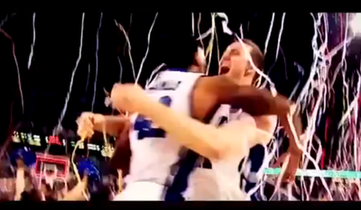 Screengrab of Duke players celebrating 2010 NCAA championship from Mitch McConnell campaign ad
