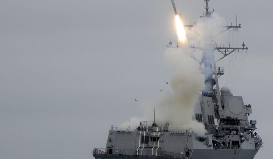 The guided-missile destroyer USS Sterett (DDG 104) successfully launches its second Tomahawk missile during weapons testing. Sterett is underway off the coast of Southern California conducting Tomahawk missile testing in preparation for an upcoming deployment.  (US Navy photo)