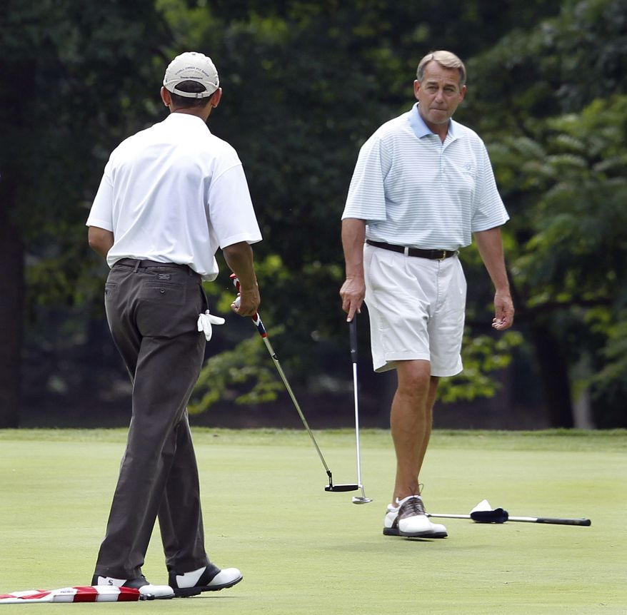 """In this photo taken June 18, 2011, President Barack Obama and House Speaker John Boehner, R-Ohio, right, play the first hole of golf at Andrews Air Force Base, Md. On ABC's """"This Week"""" Sunday, Nov. 6, 2011, Boehner said the relationship with his one-time golf partner has grown """"a little frosty"""" over the last few weeks. He said Obama is engaging in """"class warfare"""" by pushing for higher taxes for wealthy Americans, that the rich pay enough taxes, and that it's wrong for the president to """"pit one set of Americans against another."""" (AP Photo/Charles Dharapak)"""