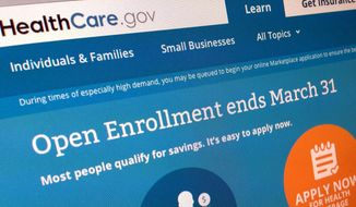 FILE - This March 1, 2014, file photo shows part of the website for HealthCare.gov as photographed in Washington. The new health care law helps some people, hurts others and confuses almost everyone. (AP Photo/Jon Elswick, File)