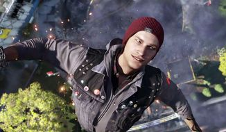 Delsin Rowe dive bombs his enemies in the cideo game Infamous: Second Son.