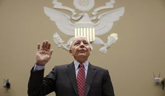 Internal Revenue Service Commissioner John Koskinen is sworn in on Capitol Hill in Washington, Wednesday, March 26, 2014, prior to testifying before the House Oversight Committee hearing probing whether tea party groups were improperly targeted for increased scrutiny by the government's tax agency. Earlier this month, IRS official Lois Lerner was called to testify about the controversy but refused to answer questions by committee Chairman Darrell Issa, R-Calif., and invoked her Fifth Amendment rights at least nine times. (AP Photo/J. Scott Applewhite)
