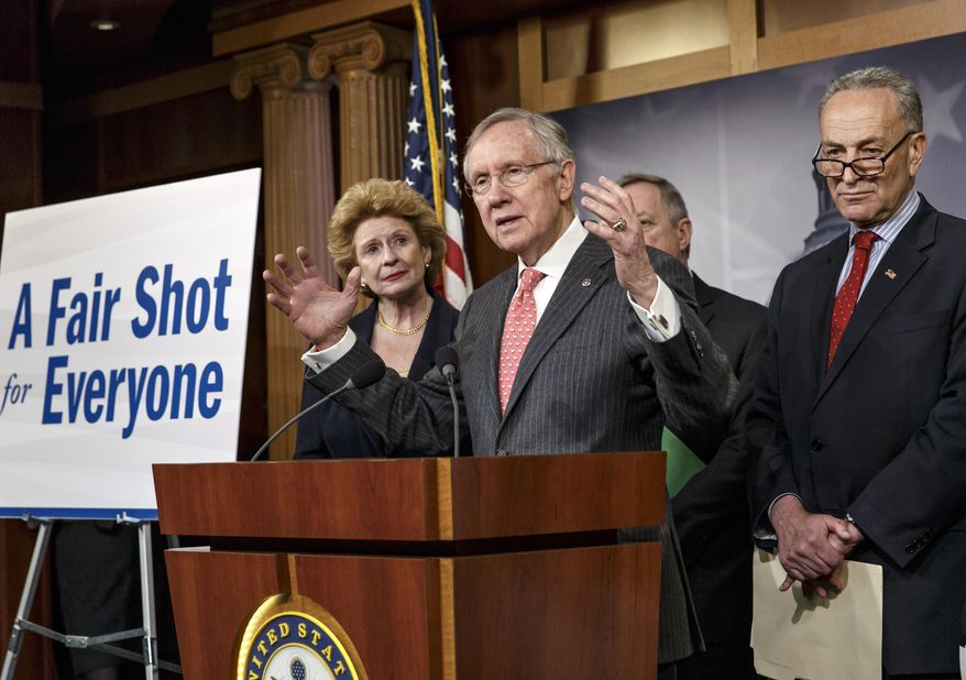 """Senate Majority Leader Harry Reid of Nev., and Democratic leaders, from left, Sen. Debbie Stabenow, D-Mich., Senate Majority Whip Richard Durbin, D-Ill., and Sen. Charles Schumer, D-N.Y., discusses their legislative agenda during a news conference on Capitol Hill in Washington, Wednesday, March 26, 2014. Raising the minimum wage, pay inequity, and other issues affecting the middle class are at the heart of their """"fair shot for everyone"""" plan. (AP Photo/J. Scott Applewhite)"""
