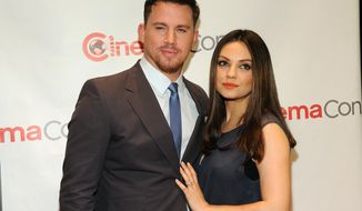 "Channing Tatum, left, and Mila Kunis, cast members in the upcoming film ""Jupiter Ascending,"" pose together before the Warner Bros. presentation at CinemaCon 2014 on Thursday, March 27, 2014, in Las Vegas. (Photo by Chris Pizzello/Invision/AP)"