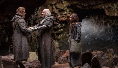 "This image released by Paramount Pictures shows Russell Crowe, from left, Anthony Hopkins and Gavin Casalegno in a scene from ""Noah."" (AP Photo/Paramount Pictures, Niko Tavernise)"