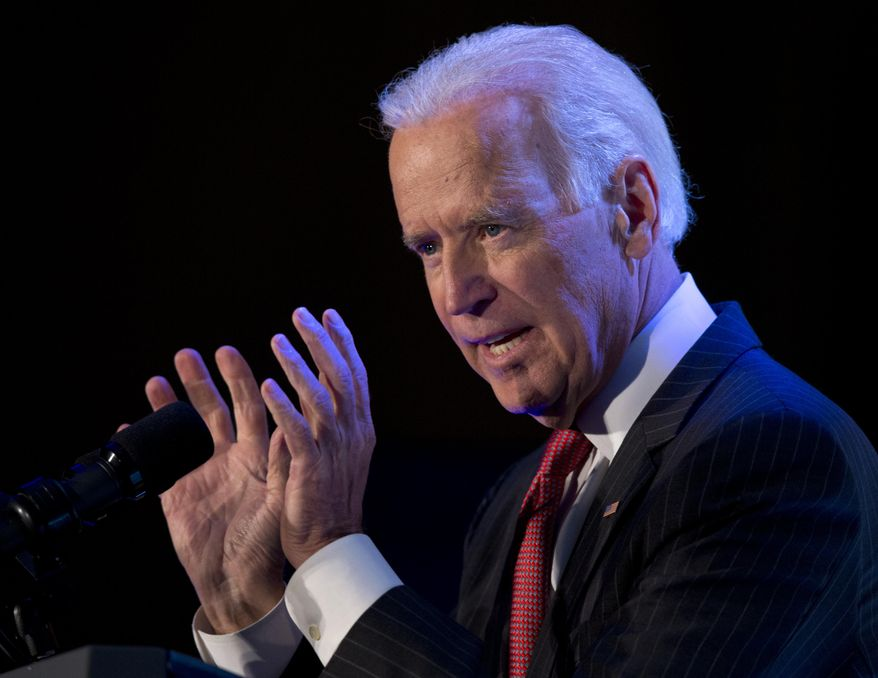 ** FILE ** Vice President Joe Biden gestures as he speaks at the U.S. Hispanic Chamber of Commerce's 2014 Legislative Summit in Washington, Thursday, March 27, 2014. (AP Photo/Carolyn Kaster)