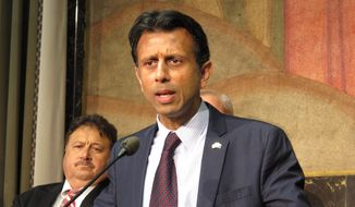 **FILE** Gov. Bobby Jindal speaks to reporters on March 27, 2014, in Baton Rouge, La. (Associated Press)