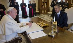 U.S. President Barack Obama meets with Pope Francis, Thursday, March 27, 2014 at the Vatican. (AP Photo/Pablo Martinez Monsivais)