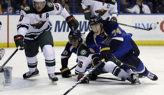 St. Louis Blues' T.J. Oshie (74) and Minnesota Wild's Ryan Suter (20) reach for a loose puck during the second period of an NHL hockey game Thursday, March 27, 2014, in St. Louis. (AP Photo/Jeff Roberson