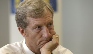 **FILE** Businessman Tom Steyer listens during a meeting to announce the launch of a group called Virginians for Clean Government at Virginia Commonwealth University in Richmond, Va., on Sept. 25, 2013. The group was formed to explain the impact of CONSOL Energy not paying royalties to their family and neighbors as well as speaking out against Ken Cuccinelli's acceptance of $111,000 in CONSOL contributions. (Associated Press)