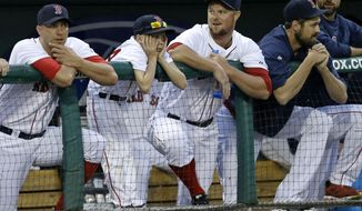 Boston Red Sox starting pitcher Jon Lester, second right, watches from the dugout in the second inning of an exhibition baseball game against the Minnesota Twins in Fort Myers, Fla., Thursday, March 27, 2014. The Red Sox announced today that Lester will be the starting pitcher on opening day.  (AP Photo/Gerald Herbert)