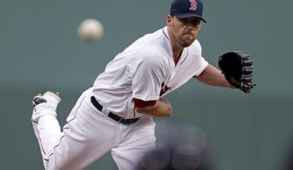 Boston Red Sox starting pitcher John Lackey pitches in the first inning of an exhibition baseball game against the Minnesota Twins in Fort Myers, Fla., Thursday, March 27, 2014. (AP Photo/Gerald Herbert)