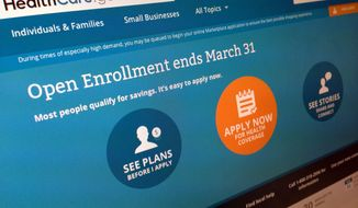 This March 1, 2014, file photo shows part of the website for HealthCare.gov, photographed in Washington. (AP Photo/Jon Elswick, File)
