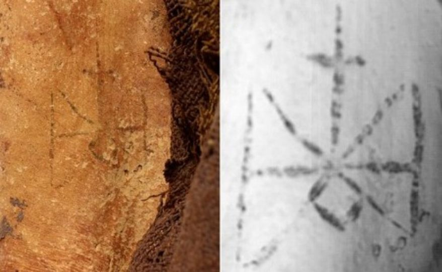 A tattoo of Saint Michael found on the mummified remains of a Sudanese woman. (Trustees of the British Museum)