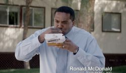 This frame grab from video provided by Taco Bell via Taylor Strategy shows Ronald McDonald of Oak Ridge, N.C., in a Taco Bell commercial. The fast-food chain will begin airing ads Thursday, March 27, 2014, that feature everyday men who happen to have the same name as the McDonald's mascot. The marketing campaign is intended to promote Taco Bell's new breakfast menu, which features novelties like a waffle taco. (AP Photo/Taco Bell via Taylor Strategy)