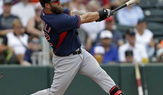 Boston Red Sox Mike Napoli (12) hits a solo homer in the sixth inning of an exhibition baseball game against the Minnesota Twins in Fort Myers, Fla., Friday, March 28, 2014. (AP Photo/Gerald Herbert)