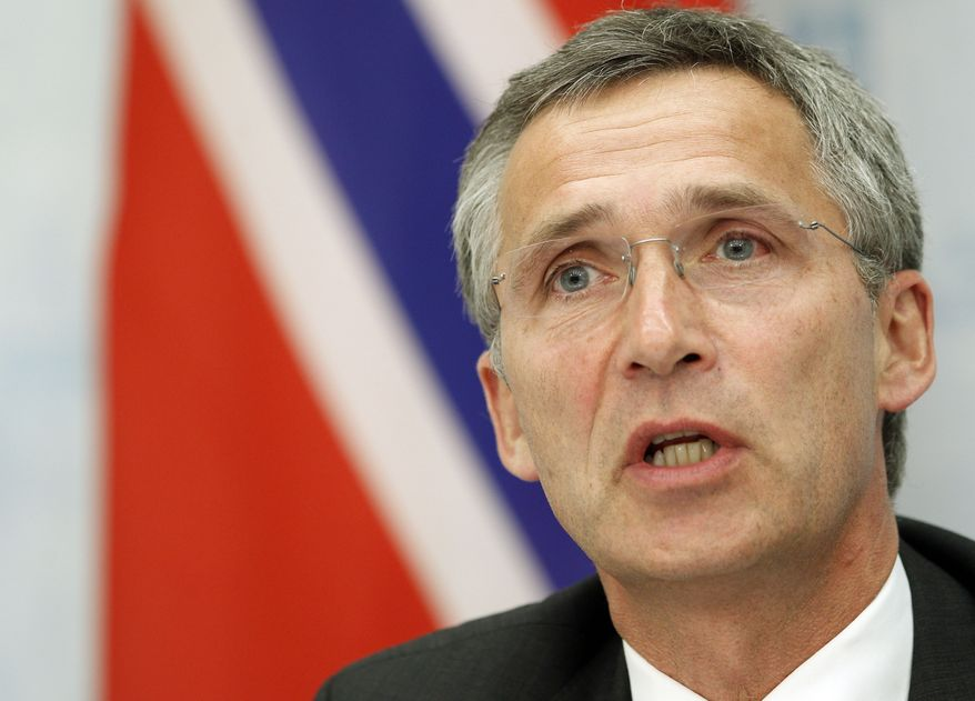 ** FILE ** In this June 25, 2013, file photo, Norway's Prime Minister Jens Stoltenberg speaks during a news conference at the Presidential palace in Vilnius, Lithuania. NATO announced on Friday, March 28, 2014, that former Norwegian Prime Minister Jens Stoltenberg will become chief of the NATO alliance when current NATO Secretary General Anders Fogh Rasmussen steps down in the autumn of 2014. (AP Photo/Mindaugas Kulbis, File)