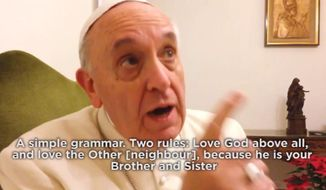 ADVANCE FOR USE SATURDAY, MARCH 29 AND THEREAFTER - In this image made from video provided by The Order of The Ark Community, Pope Francis speaks to Bishop Tony Palmer, an ecumenical officer for the Communion of Evangelical Episcopal Churches, who made a video of his meeting with the pontiff at the Vatican in early 2014. Religious leaders say the informal greeting from Pope Francis has reset relations between the Roman Catholic Church and one of its fiercest competitors around the world, Pentecostals. The message was directed to the spirit-filled Christians whose popular movements have for decades been draining parishioners from the Catholic Church. (AP Photo/The Order of The Ark Community, Tony Palmer)