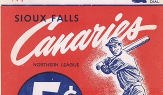 "This undated photo provided by the South Dakota State Historical Society in Pierre, S.D., shows a program from the 1950 Sioux Falls Canaries, of the Northern League, an independent professional baseball league that dates to 1902. The photo is part of the extensive collection of Northern League baseball memorabilia donated by South Dakota native Paul Gertsen to the State Historical Society, which plans to feature it prominently in an exhibit ""Play Ball! The National Pastime in South Dakota."" opening Oct. 24. Some items already are on display in the museum. (AP Photo/Courtesy of the South Dakota State Historical Society)"