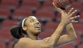 LSU's Shanece McKinney works on layup drills during practice at the NCAA college basketball tournament in Louisville, Ky., Saturday, March 29, 2014. LSU plays Louisville in a regional semifinal on Sunday. (AP Photo/Timothy D. Easley)
