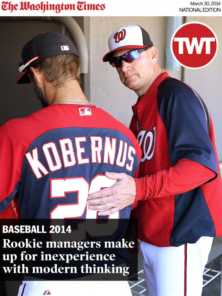 National Edition News cover for March 30, 2014 - Rookie managers make up for inexperience with modern thinking: Matt Williams, first year Manager of the Washington Nationals looks on during their Grapefruit League game against the Detroit Tigers during Spring Training at Space Coast Stadium in Viera, Florida on March 20, 2014. Photo by Gregg Newton