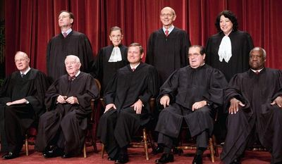 **FILE** The current U.S. Supreme Court comprises (clockwise from upper left) Associate Justices Samuel A. Alito Jr., Ruth Bader Ginsburg, Stephen G. Breyer, Sonia Sotomayor, Clarence Thomas and Antonin Scalia; Chief Justice John G. Roberts Jr.; and Associate Justices John Paul Stevens and Anthony M. Kennedy. (The Washington Times)