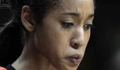 Oklahoma State guard Tiffany Bias reacts after losing to Notre Dame 89-72 in a regional semifinal at the NCAA college basketball tournament  at the Purcell Pavilion in South Bend, Ind., Saturday, March 29, 2014. (AP Photo/Paul Sancya)