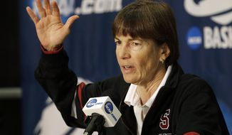Stanford head coach Tara VanDerveer speaks during a news conference at the NCAA women's college basketball tournament, Saturday, March 29, 2014, in Stanford, Calif. Stanford is scheduled to play Penn State in a regional semifinal on Sunday. (AP Photo/Jeff Chiu)