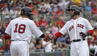 Boston Red Sox's Dustin Pedroia,right, is greeted by Shane Victorino (18) after both scored on a two-run double by Mike Napoli during the third inning of an exhibition baseball game against the Minnesota Twins in Fort Myers, Fla., Saturday, March 29, 2014. (AP Photo/Gerald Herbert)