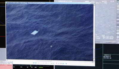 A photo taken off a computer monitor onboard a Royal New Zealand Air Force P-3 Orion, shows an object floating in an area within the search zone of the missing Malaysia Airlines Flight 370 in the Southern Indian Ocean off the coast of Western Australia, Friday, March 28, 2014. Australian Maritime Safety Authority has not confirmed any information about this object. Australian officials said that objects spotted floating in the search area need to be recovered and inspected before they can be linked to the plane. The objects, first spotted Friday, include two rectangular items that were blue and gray, and ships on the scene will attempt to recover them, the AMSA said. (AP Photo/Tony Cheng, Pool)
