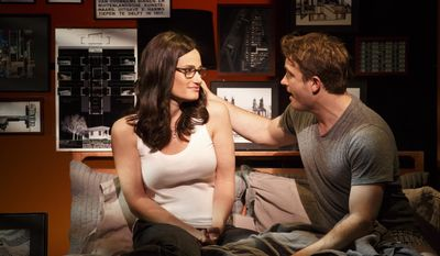 "This image released by Polk and Co. shows Idina Menzel, left, and James Snyder during a performance of ""If/Then,"" at the Richard Rodgers Theatre in New York. (AP Photo/Polk and Co., Joan Marcus)"