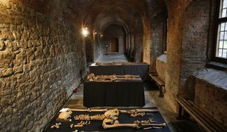 In this Wednesday, March 26, 2014 photo, some of the skeletons found by construction workers under central London's Charterhouse Square are pictured. Twenty-five skeletons were uncovered last year during work on Crossrail, a new rail line that's boring 13 miles (21 kilometers) of tunnels under the heart of the city. Archaeologists immediately suspected the bones came from a cemetery for victims of the bubonic plague that ravaged Europe in the 14th century. The Black Death, as the plague was called, is thought to have killed at least 75 million people, including more than half of Britain's population. (AP Photo/Lefteris Pitarakis)