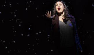 "This image released by Polk and Co. shows Idina Menzel during a performance of ""If/Then,"" at the Richard Rodgers Theatre in New York. (AP Photo/Polk and Co., Joan Marcus)"