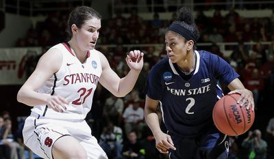 Penn State guard Dara Taylor (2) dribbles against Stanford guard Sara James (21) during the first half of a regional semifinal game at the NCAA college basketball tournament in Stanford , Calif., Sunday, March 30, 2014. (AP Photo/Marcio Jose Sanchez)