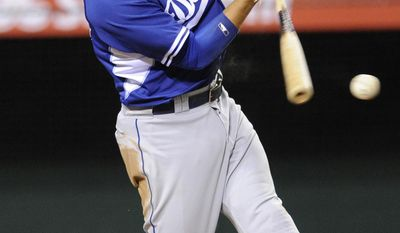 Los Angeles Dodgers' Miguel Rojas breaks his bat as he grounds into a force out during the fourth inning of an exhibition baseball game against the Los Angeles Angels in Anaheim, Calif., Saturday, March 29, 2014. (AP Photo/Kelvin Kuo)