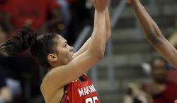Maryland forward Alyssa Thomas (25) shoots during the second half of a regional semifinal game against Tennessee at the NCAA college basketball tournament on Sunday, March 30, 2014, in Louisville, Ky. (72-63 AP Photo/John Bazemore)