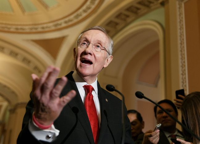 """Senate Majority Leader Harry Reid said he expects the Senate to pass a jobless-benefits funding bill this week after Monday's agreement on a voice vote to take up the legislation, from which he barred amendments.  """"Hopefully, the Republicans in the House will have the soft hearts and strong minds to allow this to pass over there,"""" the Nevada Democrat said afterward. (Associated Press photographs)"""