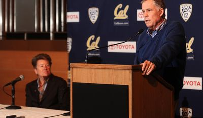 Mike Montgomery, head coach of the California basketball team, discusses his retirement during a news conference Monday, March 31, 2014, in Berkeley, Calif. At left is athletics director Sandy Barbour. (AP Photo/Noah Berger)