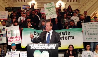 Pennsylvania state Sen. Daylin Leach, a Democrat from the Philadelphia suburbs running for Congress, speaks at a rally in favor of marijuana legalization at the capitol building on Monday, March 31, 2014, in Harrisburg, Pa.  Speakers at the Keystone Cannabis Reform Rally on Monday urged the use of the drug for medical purposes, the production of industrial hemp and the decriminalization of recreational marijuana. (AP Photo/Mark Scolforo)