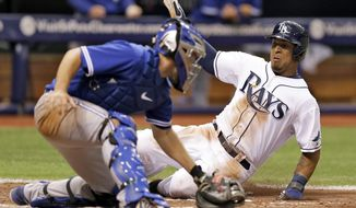 Tampa Bay Rays' Desmond Jennings, right, scores past Toronto Blue Jays catcher Josh Thole during the fifth inning of a baseball game Monday, March 31, 2014, in St. Petersburg, Fla. Jennings scored on a double by teammate Matt Joyce. (AP Photo/Chris O'Meara)