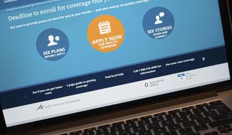 The HealthCare.gov website is shown on a laptop in Washington, Monday, March 31, 2014. Today is the deadline to sign up for private heath insurance in the online markets created by President Obama's heath care law or face a federal fines. (AP Photo/J. David Ake)