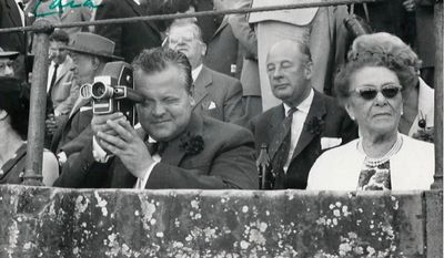 The 1950's era 16 millimeter film camera used by Orson Welles to shoot a 1962 documentary and home movies is one of the items consigned by his daughter Beatrice Welles to be offered by Heritage Auctions in New York City on April 26, 2014.  (AP Photo/Heritage Auctions)