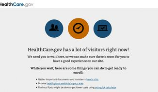 This screen grab taken from the Health Care Marketplace website shows a message asking new visitors to stay on during the login process of the Health Care Marketplace website on Monday, March 31, 2014. The Obama administration says a new technical problem is preventing last-minute users from signing up on the government's health insurance website. The new problem comes as traffic is surging on deadline day. (AP Photo/Healthcare.gov)