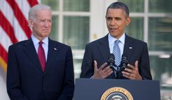 President Obama, with Vice President Joe Biden, speaks in the Rose Garden of the White House in Washington, Tuesday, April 1, 2014, about the Affordable Care Act. The deadline to sign up for health insurance under the Affordable Care Act passed at midnight Monday night. (Associated Press)