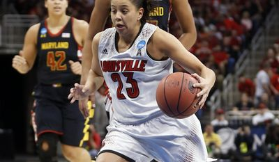 Louisville guard Shoni Schimmel (23) drives past Maryland forward Alyssa Thomas (25)  during the first half of a regional final in the NCAA women's college basketball tournament, Tuesday, April 1, 2014, in Louisville, Ky. (AP Photo/John Bazemore)