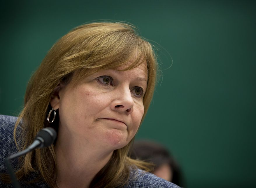 General Motors CEO Mary Barra testifies on Capitol Hill in Washington, Tuesday, April 1, 2014, before the House Energy and Commerce subcommittee on Oversight and Investigation. The committee is looking for answers from Barra about safety defects and mishandled recall of 2.6 million small cars with a faulty ignition switch that's been linked to 13 deaths and dozen of crashes. (AP Photo/Evan Vucci)