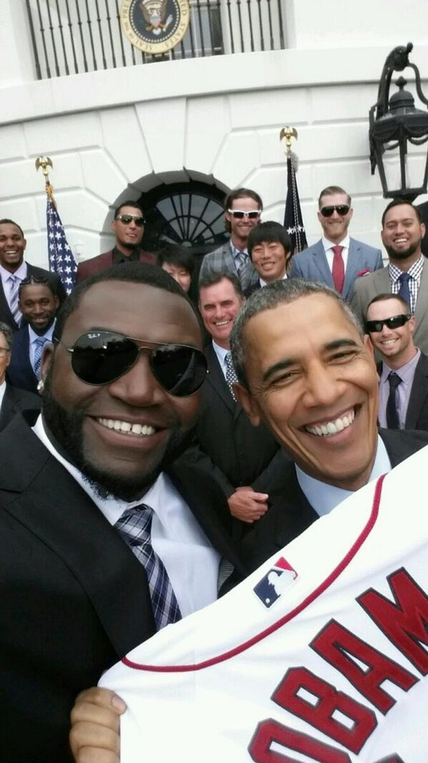 Red Sox Slugger David Ortiz snapped this selfie with President Obama.