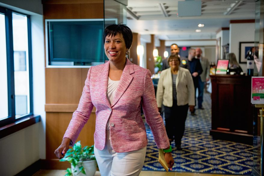 """Taking the next steps: """"We take no voters for granted,"""" Muriel Bowser says in a post-primary speech. Political observers predict a bruising battle for D.C. mayor against David A. Catania in November. (Andrew Harnik/The Washington Times)"""